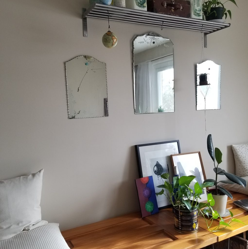 A sunny living room with mirrors and plants